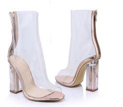 Peep Toe ясно ПВХ пятки сандалии ботинки обувь женщины