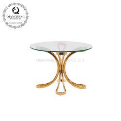 أثاث غرفة المعيشة قاعدة من الفولاذ المقاوم للصدأ طاولة قهوة ذهبية أريكة الجدول