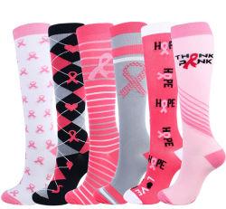 MOQ moda al por mayor de pequeñas acciones de la mujer de alta compresión de la ejecución de la rodilla calcetines de deporte