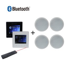 4 canaux sans fil Bluetooth Mini 25W Accueil Système de musique audio Amplificateur de montage mural avec 4 PCS 6'' enceinte de plafond et la télécommande pour système de sonorisation