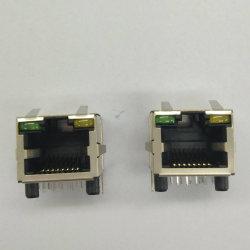 Magnético de puerto único conectores modulares con LED, RJ 45, tomas de Poe