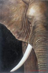 Gallery enrolado metade Elephant pintura a óleo para a decoração de paredes