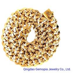 14K実質の固体イエロー・ゴールドの空のモナコのチェーンネックレスまたはブレスレット現代明白なロックの止め金の方法宝石類