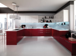 Blanco alto brillo conjunto mueble de cocina de madera maciza