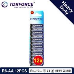 1.5 فولت من مصنع الصين للزنك بطارية الكربون سعر الجملة (R6-AA 12PCS)
