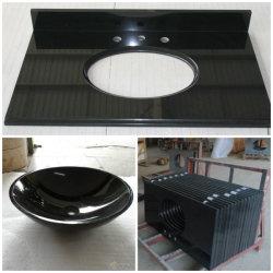سطح منضدة من الجرانيت أسود أسود داكن منضدة الحمام الصينية المنحنية