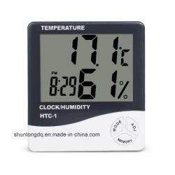 실내 룸 LCD 전자 온도 습도 미터 디지털 온도계 습도계 기상대 자명종 HTC-1