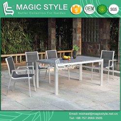 Juego de comedor exterior Silla de Comedor Silla de Aluminio El aluminio Silla de dibujo Cafe Silla Poly mesa de madera de estilo (Magic)