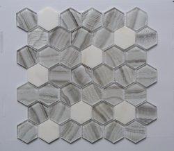 육각형 패턴 유리 혼합 대리석 모자이크 타일
