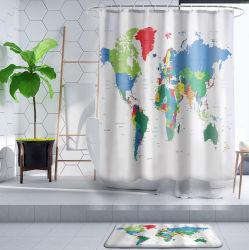 3D gedruckten Polyester-Weltkarten-Duschvorhang für Badezimmer kundenspezifisch anfertigen