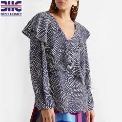 폴카 도트 디자인 100% 실크 크레페 드 신 탑 여성용 블라우스