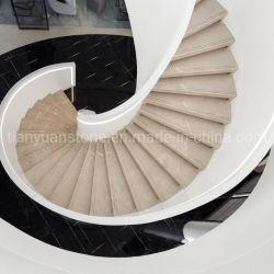 Scale di pietra di marmo beige/punto & colonna montante per il pavimento/interiore Upstair