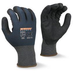 De hete Verkopende 15g Nylon Handschoenen van de Bescherming van de Hand van de Veiligheid van de Olie van het Nitril van de Voering Spandex Zwarte Zandige Met een laag bedekte Anti