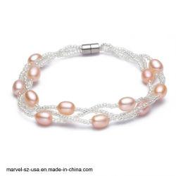 Braccialetto d'acqua dolce delle donne del braccialetto della perla dell'inarcamento magnetico del regalo dei monili di fascino