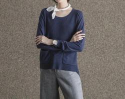 La primavera de cartero tejidos de diseño de moda los suéteres de cuello de la tripulación de la mujer con bolsillos
