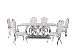 Hot vendre Table en marbre Accueil Mobilier Table Table à manger en acier inoxydable