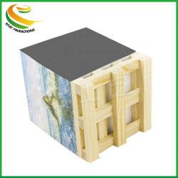 El logotipo de fantasía Almohadillas adhesivas personalizadas Bloc de notas bloque creativo Cubo de papel bloque personalizado Nota adhesiva con palet de madera para oficina