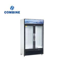 Direct de gel de refroidissement du refroidisseur de boissons alimentaires Showcase avec deux portes