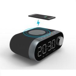Radio FM con reloj de carga inalámbrica rápida 10W gran pantalla de LED 2 alarmas tejido Hotel