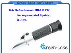 Refractómetro de mano de 0-10% Brix, para el contenido de azúcar probando Rhb-10 ATC