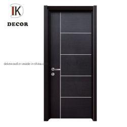 Ranura de la tallada de estilo vintage de patrón de la línea de entrada de la habitacion de MDF de empresa de giro interior Puerta de madera