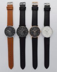 Personalizar Relojes Hombre de cristal de la curva de cuero de moda Hombre reloj de pulsera
