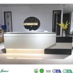 Heller moderner Empfang-Schreibtisch der Goldteakholz-Melamin-Farben-LED