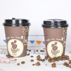 12 oz de papel desechables personalizados taza de bebida caliente café caliente Bebida caliente con tapa