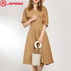 2019 осенью женщин долго повседневный постельное белье Khaki платья Sexy платья