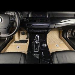 5D Matten van de Vloer van de Auto van de Matten van de Voet van het Leer van de Matten van de Auto van de Aanpassing van het embleem de Beige