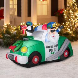 مخصص في الهواء الطلق مخصص سيارة الشرطة زورق مطاطي لعيد الميلاد الديكور