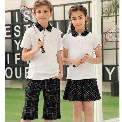 Etiqueta bordada pêssego acolhedor sarjado camisetas tecidas Piqué escola internacional de desenhos ou modelos uniformes camisa Polo