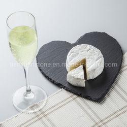 Pizarra negra en forma de corazón de la placa de Sushi Torta de pizarra negra la placa de servicio