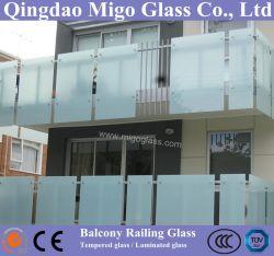 Baranda de vidrio esmerilado/oscuro sistema /Cristal Baranda de balcón/ valla de vidrio grabado ácido/paneles de vidrio Budiling