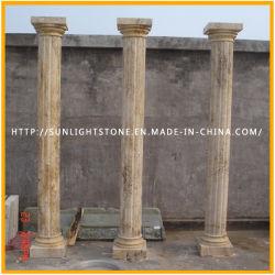 De gesneden Opgepoetste Gele Marmeren Kolom van de Steen van het Graniet Roman Stevige