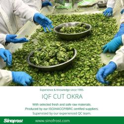 IQF congelados quiabo fatias/cortes/Poços, ISO/HACCP/BRC/Halal