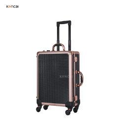 Zwarte klassieke aluminium make-up-treintas met Bluetooth MP4-schoonheid Rolkoffer voor trolley