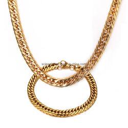 Haute qualité en acier inoxydable poli brillant Cuba cubain Link Collier Bracelet bijoux Set