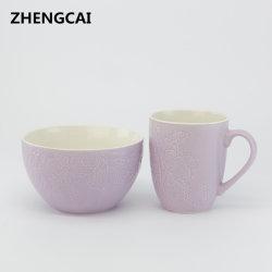 Articoli per la tavola stabiliti della porcellana di colore dei prodotti dei fornitori della glassa di disegno della ciotola di ceramica creativa di alta qualità della tazza