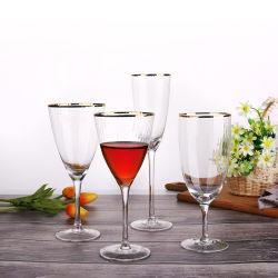 16oz de haute qualité de la verrerie de la jante d'or verre de vin