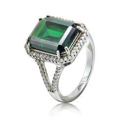Mode Bijoux Argent 925 anneaux pierres vert luxueux pour les femmes