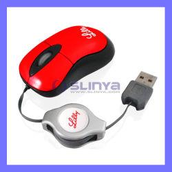 Con cable retráctil de alta calidad Compuputer Ratón óptico para promoción