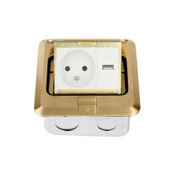 Legering van het messing hief Pop omhooggaande Contactdoos van de Vloer van het Type met Van de Macht van de Contactdoos USB van Fr Ce- Certificaat op dct-628/GB