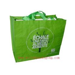 Bolsa de tejido de polipropileno laminado colorida Bolsa de compras de supermercado