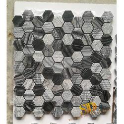 Het zwarte Houten Marmeren Mozaïek Tles van de Ader met Verschillende Afwerking voor het Gebruik van de Muur en van de Vloer van de Badkamers