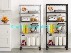 4 étagère de stockage de niveau d'affichage Rack- fil de métal Rack de l'organiseur avec roulettes Kfds14004