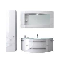 Novo design Arc de vidro branco PVC Bacia armário de banheiro