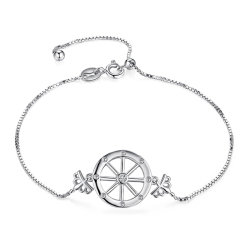 Bisutería de la rueda de barco del Capitán de la corona de zirconio cúbico Pulsera plata esterlina 925