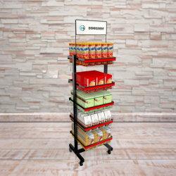 Soporte para montaje en bastidor de metal de merchandising Soporte de pantalla con 6 estantes Estanterías de almacén de alambre de neumáticos muestra