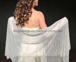 Yiwu مصنع بالجملة النساء تماما رائع شيمر عروس ثوب المساء وشاح زفاف مزيَّن بالبوليستر